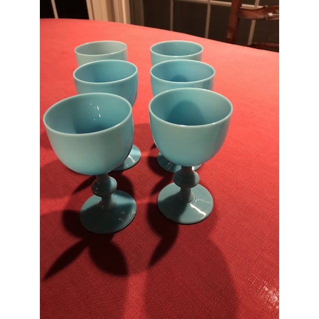 Portieux Vallerysthal 1900s Portieux Vallerysthal French Blue Opaline Glassware - Set of 6 For Sale - Image 4 of 5