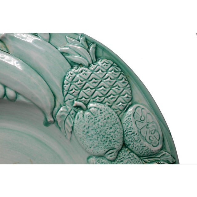 """Farmhouse Vintage Italian Majolica Ceramic Large 20"""" Hand-Painted Green Fruit Platter Italy For Sale - Image 3 of 13"""