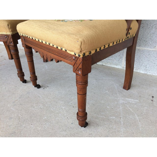 Brown Pair of Victorian Eastlake Needle Point His & Hers Accent Chairs For Sale - Image 8 of 11