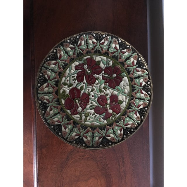 Handmade and painted Cloisonné decotarate plate.