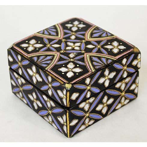 Victorian black glass and polychrome enamel decorated square box with lid.