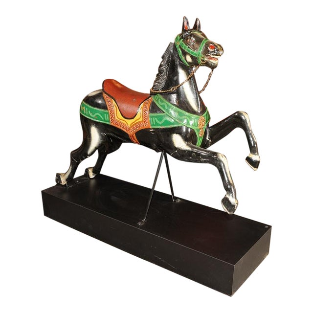 French Antique Carved & Painted Carousel Horse - Image 1 of 8