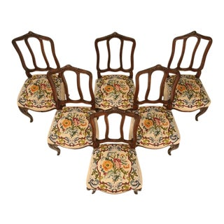 Antique Italian Oak Needlepoint Dining Chairs - Set of 6 For Sale