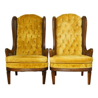 Bassett Mid Century Cane Wingback Chairs- A Pair For Sale