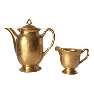 22 K Gold Art Deco Porcelain Coffee Pot & Pitcher For Sale