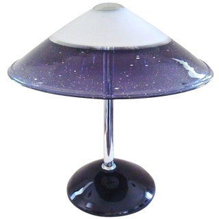1980s Barbini Purple Murano Art Glass Table Lamp For Sale
