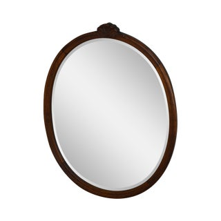 Antique Oval Solid Mahogany Frame Beveled Wall Mirror For Sale