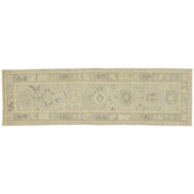 Contemporary Turkish Oushak Runner With Transitional Style - 03'00 X 09'11 For Sale - Image 9 of 9