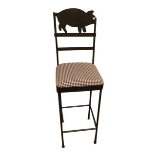 Custom Black Iron Pig Bar Stool