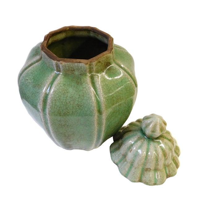 Ceramic Crackle Pattern Pumpkin Celadon Green Jar For Sale - Image 4 of 6