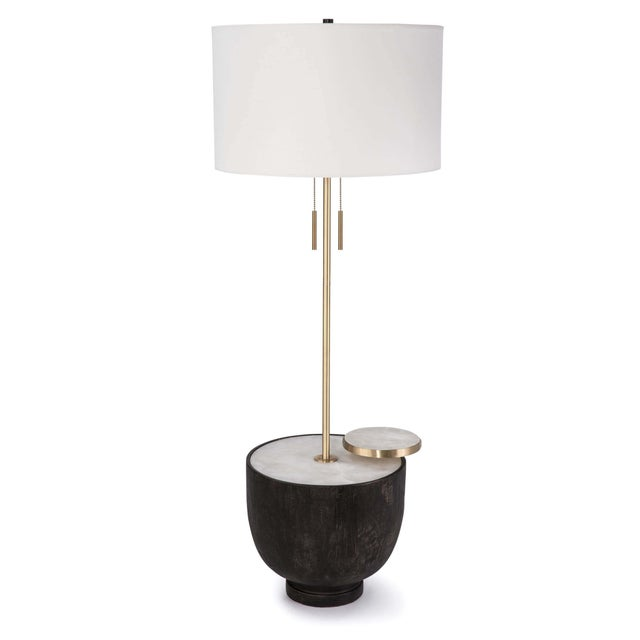 Wood Theo Floor Lamp in Ebony For Sale - Image 7 of 7