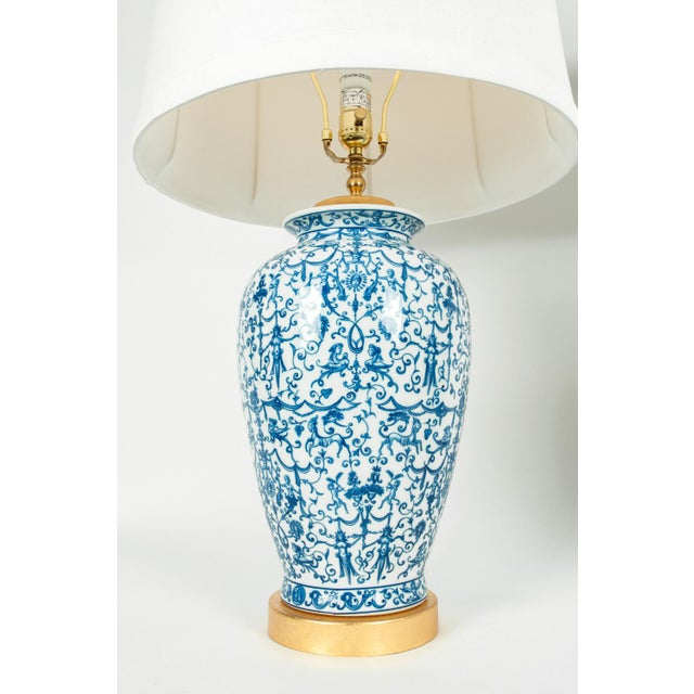 Porcelain With Wooden Base Gold-Plated Task Table Lamps - a Pair For Sale - Image 4 of 11