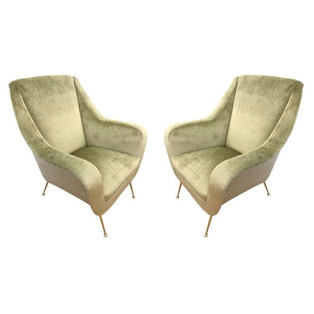 Green Pair of Light Green Mid-Century Lounge Chairs For Sale - Image 8 of 8