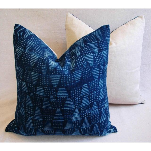 Boho Chic Indigo African Mali Mud Cloth Tribal Pillows - a Pair - Image 8 of 11