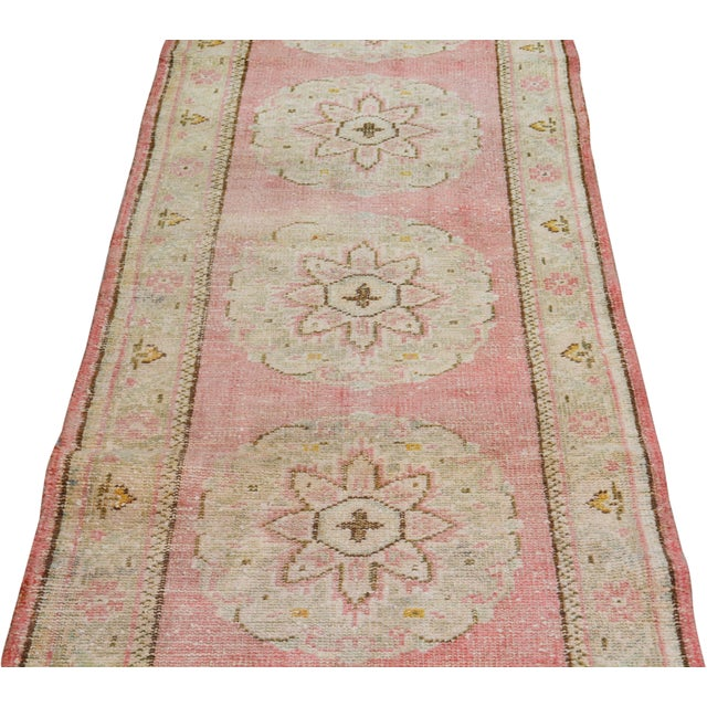 "Shabby Chic Vintage Turkish Hand Knotted Whitewash Organic Wool Fine Weave Runner Rug,2'6""x11'6"" For Sale - Image 3 of 6"