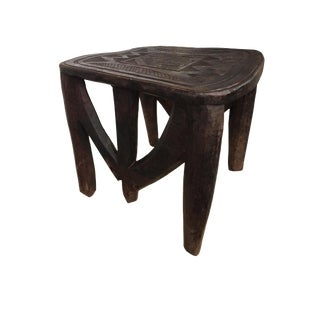 """African Lg Colorful Nupe Stool/Table Nigeria 23.5"""" W by 18.5"""" H For Sale"""