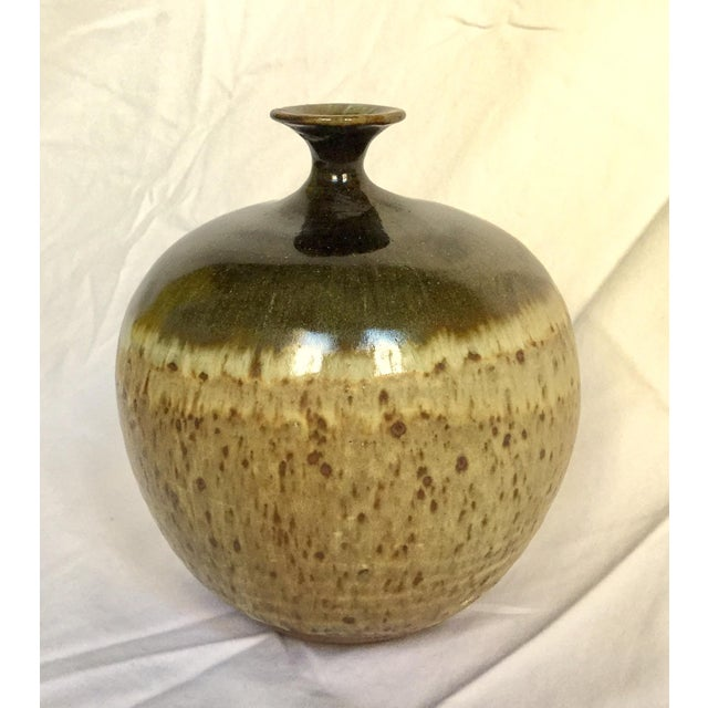 Vintage Ceramic Weed Pot in Olive Green and Earth Tones - Image 5 of 11