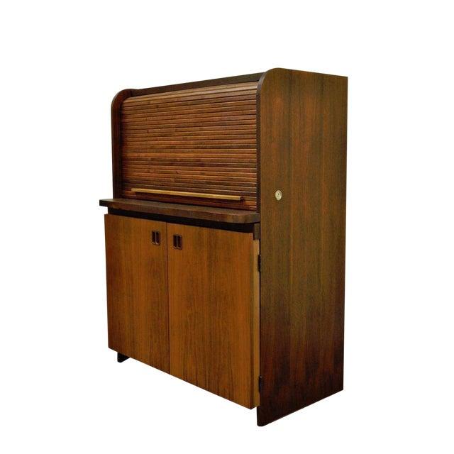 1960's Danish Style Teak Tambour Roll Top Secretary Desk For Sale