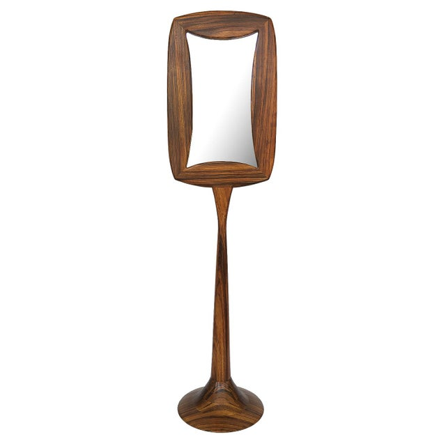 Studio Craft Movement Carved Zebrawood Standing Floor Mirror For Sale - Image 13 of 13