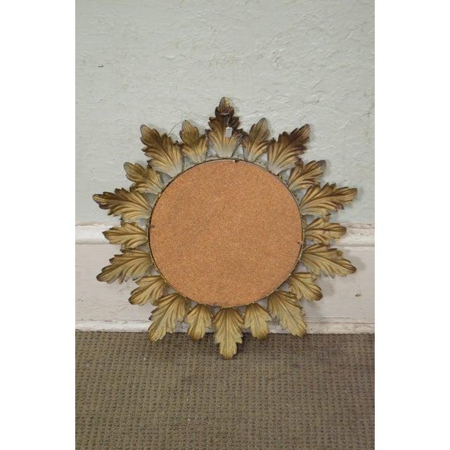 Hollywood Regency Mid century Gold Gilt Metal Starburst Wall Mirror - Image 5 of 11
