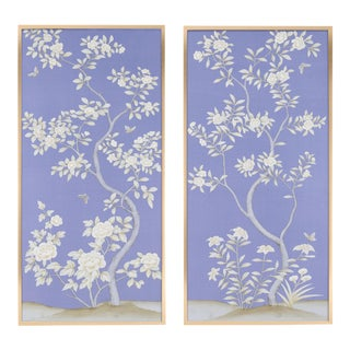"""Jardins en Fleur """"Inverness"""" Chinoiserie Hand-Painted Silk Diptych by Simon Paul Scott in Burnished Gold Frame - a Pair For Sale"""