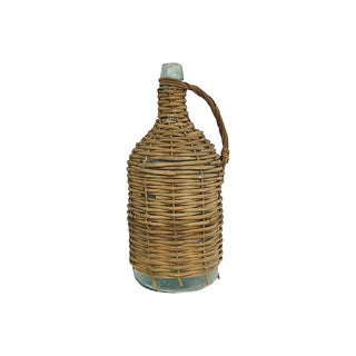 Antique French Woven Glass Demijohnn For Sale