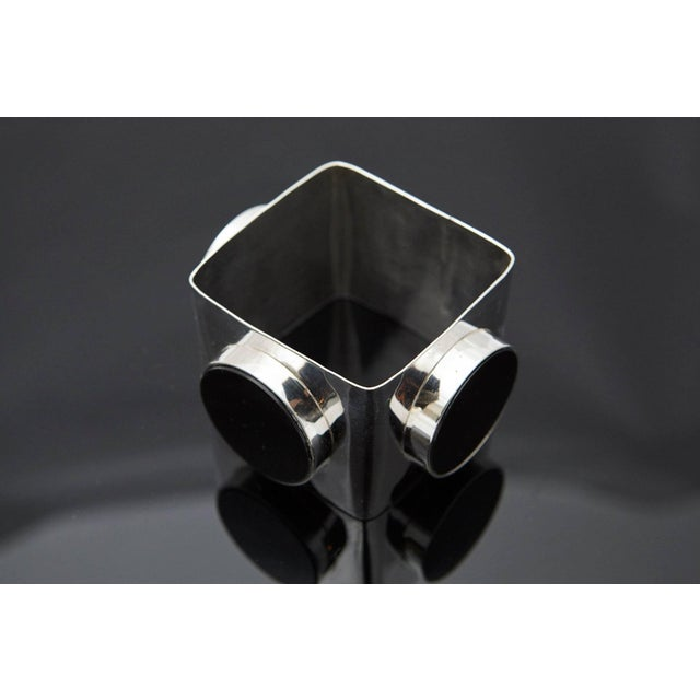 Large Square Silver Bangle With Three Circular Onyx Stones, Circa 1970s For Sale - Image 4 of 7