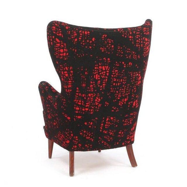 Danish Modern Mogens Lassen-Style Black & Red Wool Easy Chair For Sale In New York - Image 6 of 8