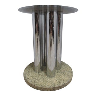 Mid-Century Chrome & Marble Round Pedestal Dining Table Base For Sale