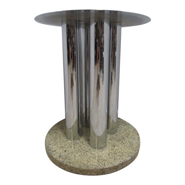 MidCentury Chrome Marble Round Pedestal Dining Table Base Chairish - Mid century pedestal dining table