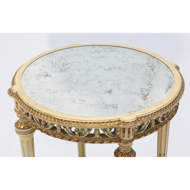 19th Century Painted French Occasional Table Inset With Mirrored Top For Sale - Image 4 of 8