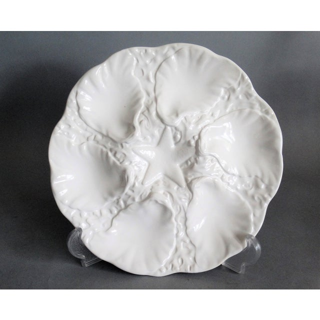 Ceramic Majolica Oyster Plate With Starfish Well For Sale - Image 7 of 7