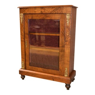 1910s French Inlaid Walnut Display Cabinet