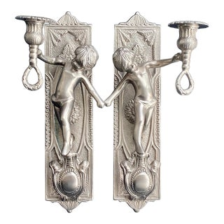 Vintage French Putti Candle Sconces in Silver Finish - a Pair For Sale