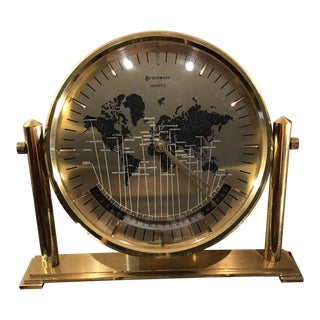 Vintage Benchmark Brass World Desk Clock For Sale