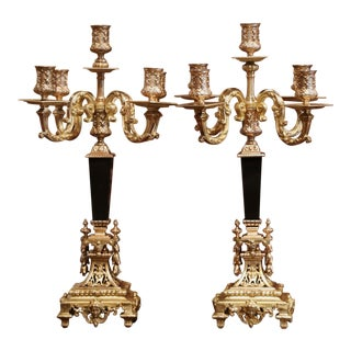 Pair of 19th Century French Bronze Dore and Black Marble Five-Arm Candelabras For Sale