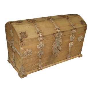 Stripped Alsacien Oak Trunk With Parcel Silver Paint Hardware, Circa 1790 For Sale
