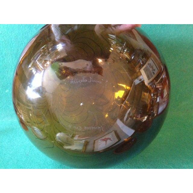 2004 Large Italian Alberto Dona Murano Hand Blown Swirled Art Glass Bottle Vase For Sale In Minneapolis - Image 6 of 13