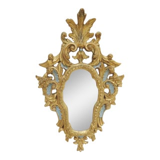 Italian Florentine Gold & Blue Mirror For Sale