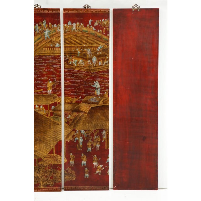 Brown Series of Six Red Lacquered Chinoiserie Panels For Sale - Image 8 of 11