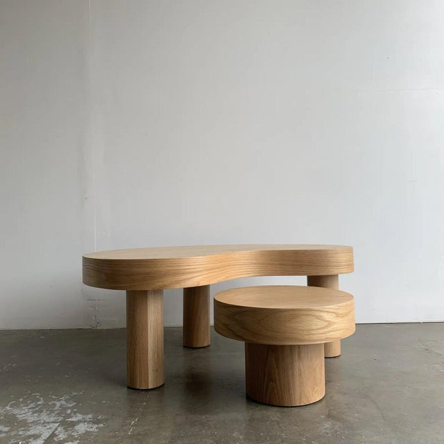Wood Contemporary Kidney Two Tiered Coffee Table - A Pair For Sale - Image 7 of 13