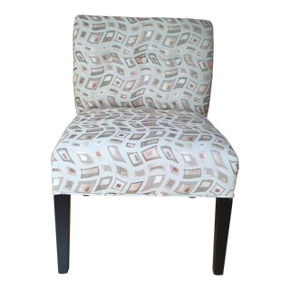Beige & Gold Tone Accent Chair