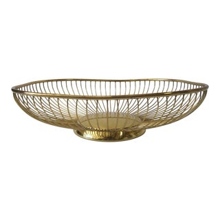 Italian Brass Basket For Sale