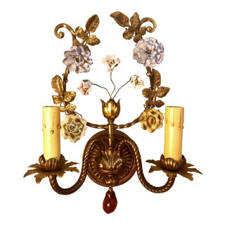 Pair Antique French Wall Light Sconces, Tole With Porcelain Flowers, Circa 1890-1910. For Sale