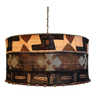 Kuba Cloth Drum Shape Chandelier For Sale