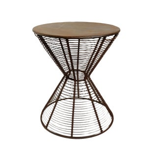 Iron Wire Hour Glass Side Table For Sale