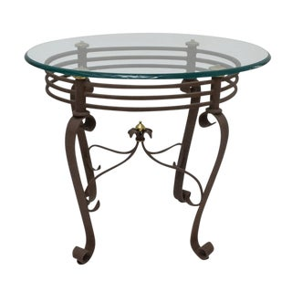 2000s Art-Deco Fer Forge Rusted Iron Finishing and Brass Finial Accent Table