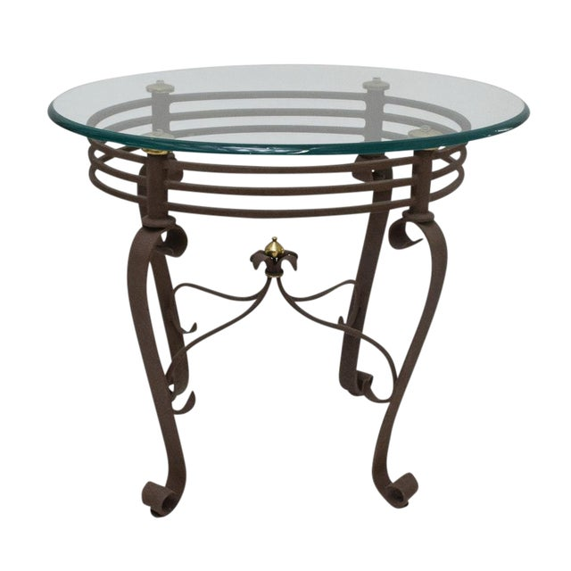 2000s Art-Deco Fer Forge Rusted Iron Finishing and Brass Finial Accent Table For Sale