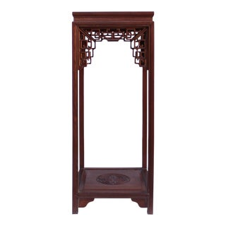 Chinese Light Brown Stain Square Ru Yi Plant Stand Pedestal Table For Sale