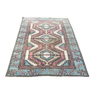 1960s Geometric Design Turkish Aztec Wool Area Rug- 4′8″ × 6′4″ For Sale